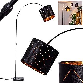 Lampadaire Arnoya en métal noir et abat-jour en tissu noir et réflecteur cuivré, lampe arquée rétro-moderne avec interrupt...