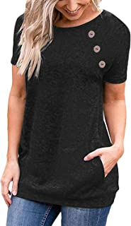 Women Casual Long/Short Sleeve Side Button T-Shirt Tunic Top Solid Blouse Pocket