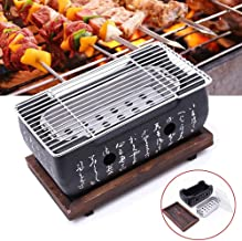 Cast Iron Grill,Table Top Grill Charcoal Japanese Grill at Home, Portable BBQ Grill With Wire Mesh Grill and Wooden Base, Camping Cooking Grill (9.5 x 5Inch)