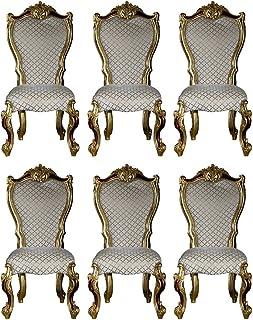 Casa Padrino Conjunto de sillas de Comedor Barroco Gris/Oro/Rojo/Oro 58 x 57 x A. 107 cm - Sillas de Cocina Conjunto de 6 Estilo Barroco - Muebles de Comedor barrocos