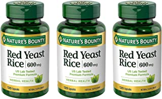 Nature's Bounty Red Yeast Rice 600mg, 360 Capsules Pack of 3