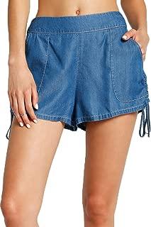 Ruched Chambray Shorts