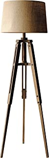Creative Co-op Tripod Style Wood Floor Lamp with Drum Shade