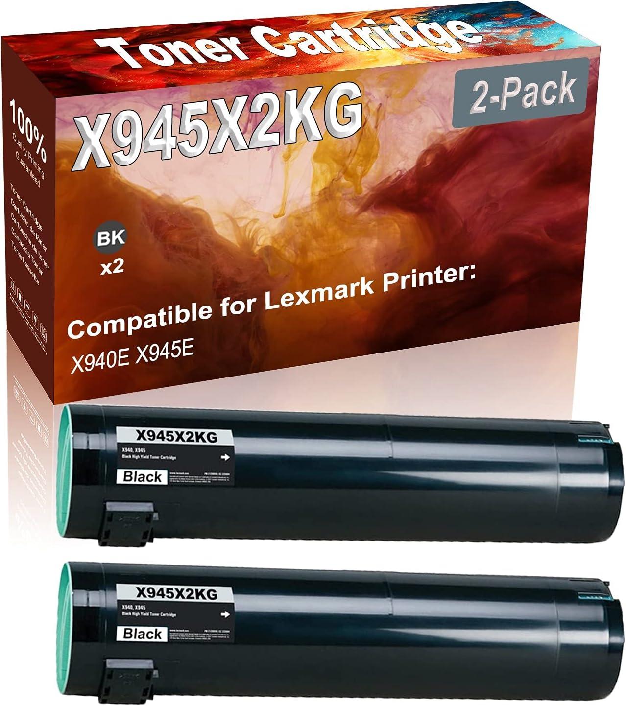 2-Pack (Black) Compatible High Yield X945X2KG Printer Toner Cartridge use for Lexmark X940E X945E Printers