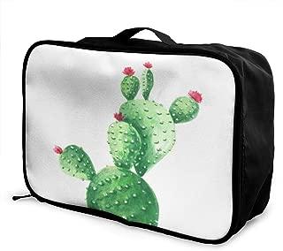 Travel Bag Cactus Watercolor Print Cactus Portable Foldable Tote Duffel Bags Vintage Trolley Handle Luggage Bag