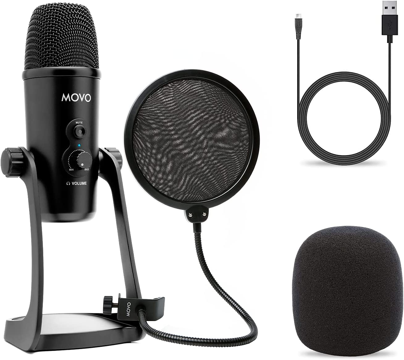 Movo 2021 model Desktop USB Surprise price Microphone for Pop-Filter with 4 Computer Pick