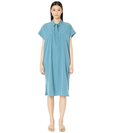 Eileen Fisher Classic Collar Short Sleeve Calf Length Dress (River) Women