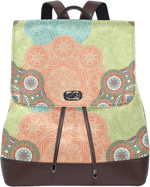FAJRO Exotic Ethnic Style Travel Backpack Leather Handbag School Pack