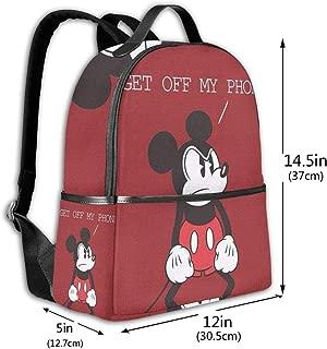 Classic School Backpack Mickey Get Off My Phone Unisex College Schoolbag Travel Bookbag Black