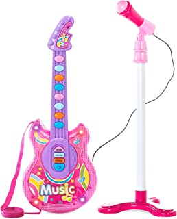 Best Choice Products 19-Inch Electric Flash Guitar Playset w/ Mic, Stand, MP3 Compatible, Pink