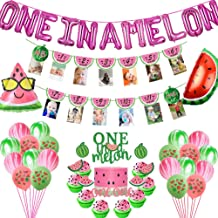 Watermelon First Birthday Party Supplies One in a Melon Balloons Watermelon Photo Banner Pink Glittery Watermelon One Cake...