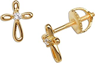 Girl's 14K Gold-Plated or Sterling Silver Infinity Cross Earring with CZ and Screw Back