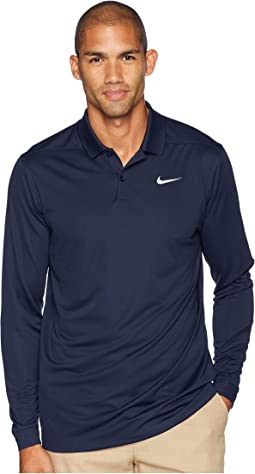 312043b27 Obsidian/Flint Silver. 14. Nike Golf. Dry Victory Polo Long Sleeve. $65.00.  White/White/Black