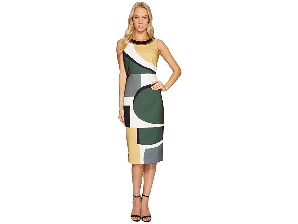 Laundry by Shelli Segal Midi Dress with Cut Out Back Detail (Olive) Women