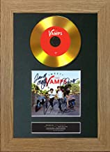 #101 Gold CD The Vamps Meet The Vamps Signed Autograph DVD & Cover Reproduction Print A4 Rare Perfect Birthday (297 x 210mm) (Oak Veneer Frame)