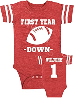 baby boy girl Personalized custom back football theme 1st birthday outfit bodysuit, Baby first year down, Regular, Glitter or suede like design options, 1st birthday Assorted onesies colors