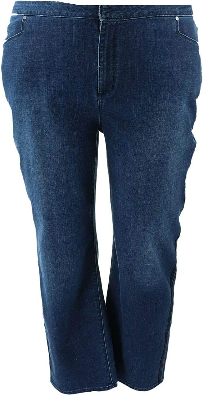 Dennis Basso Stretch Denim Straight Ankle Jeans Medium Wash 18W New A346667