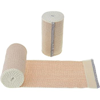 """Dealmed 10 Pack 4"""" Elastic Bandage Wrap with Self-Closure, Comfort Compression Roll, 4.5 Yards Stretched"""