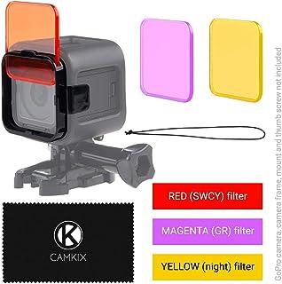 CamKix Juego de filtro de lentes de Buceo Compatible con GoPro HERO 5 / 4 Session Camara – Mejora colores para Varios Videos submarinos y Condiciones de Fotografia – Colores vivos Mejora contraste vision nocturna (GoPro HERO 4 Session 3 Filtros: rojo / magenta / amarillo)