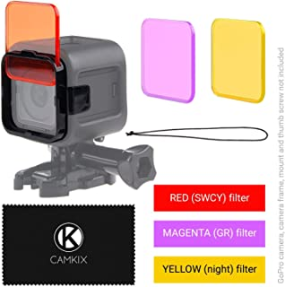 CamKix Diving Lens Filter Kit Compatible with GoPro Hero 5 and Hero 4 Session Camera - Enhances Colors for Various Underwater Video and Photography Conditions