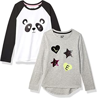 Spotted Zebra Girl's 2-Pack Long-Sleeve Novelty T-Shirts