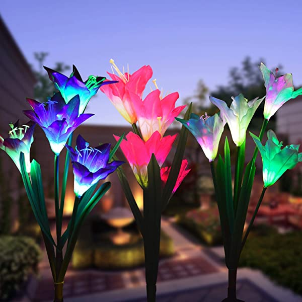 Outdoor Solar Garden Stake Lights 3 Pack Solar Powered Lights With 12 Lily Flower Multi Color Changing LED Solar Landscape Lighting Light For Garden Patio Outdoor Solar Garden Stake Lights 3