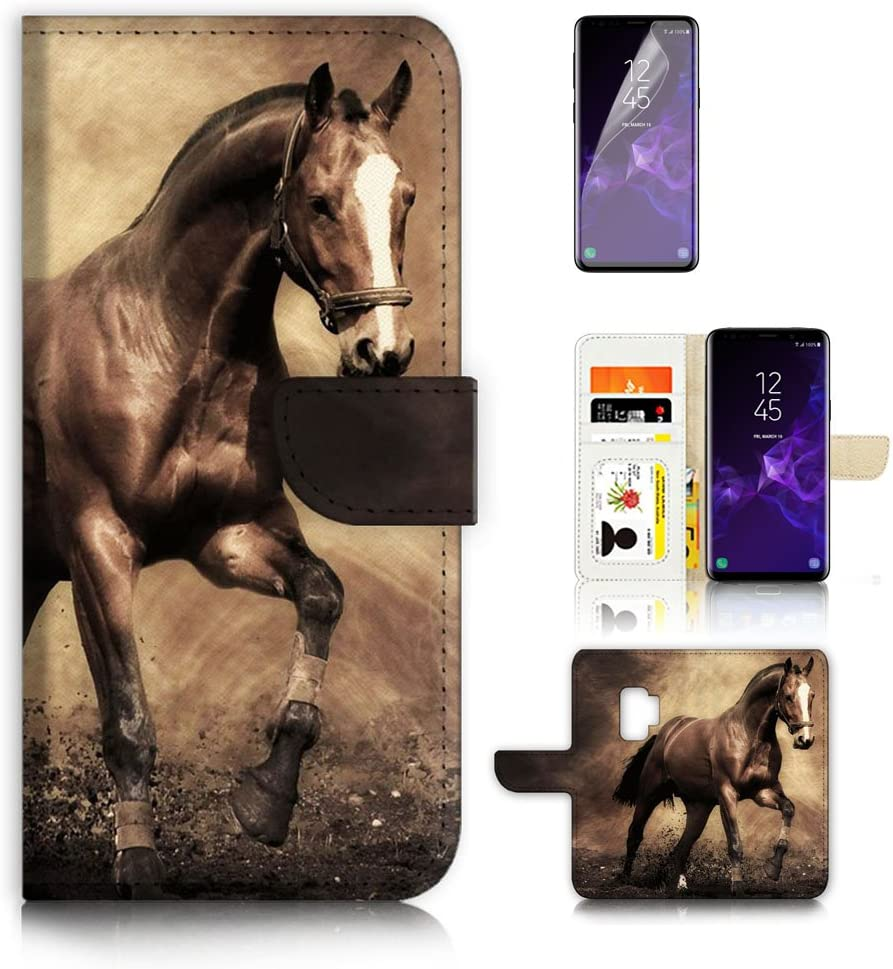 (for Samsung S9+ / Galaxy S9 Plus) Flip Wallet Case Cover & Screen Protector Bundle - A8363 Horse