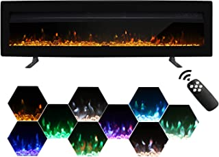 Maxhonor 50 Inches Electric Fireplace Insert Wall Mounted Freestanding Heater with Remote Control, 1500/750W, Black