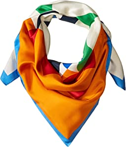Color Block Logo Silk Square Scarf