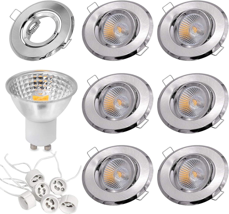 Jodie Bernol GU10 LED Lampen GU10 Lampenfassung Deckeneinbauleuchte Einbaurahmen Kit AC 220V 6er Set LED-Glühlampe (Gre   Warmwei)