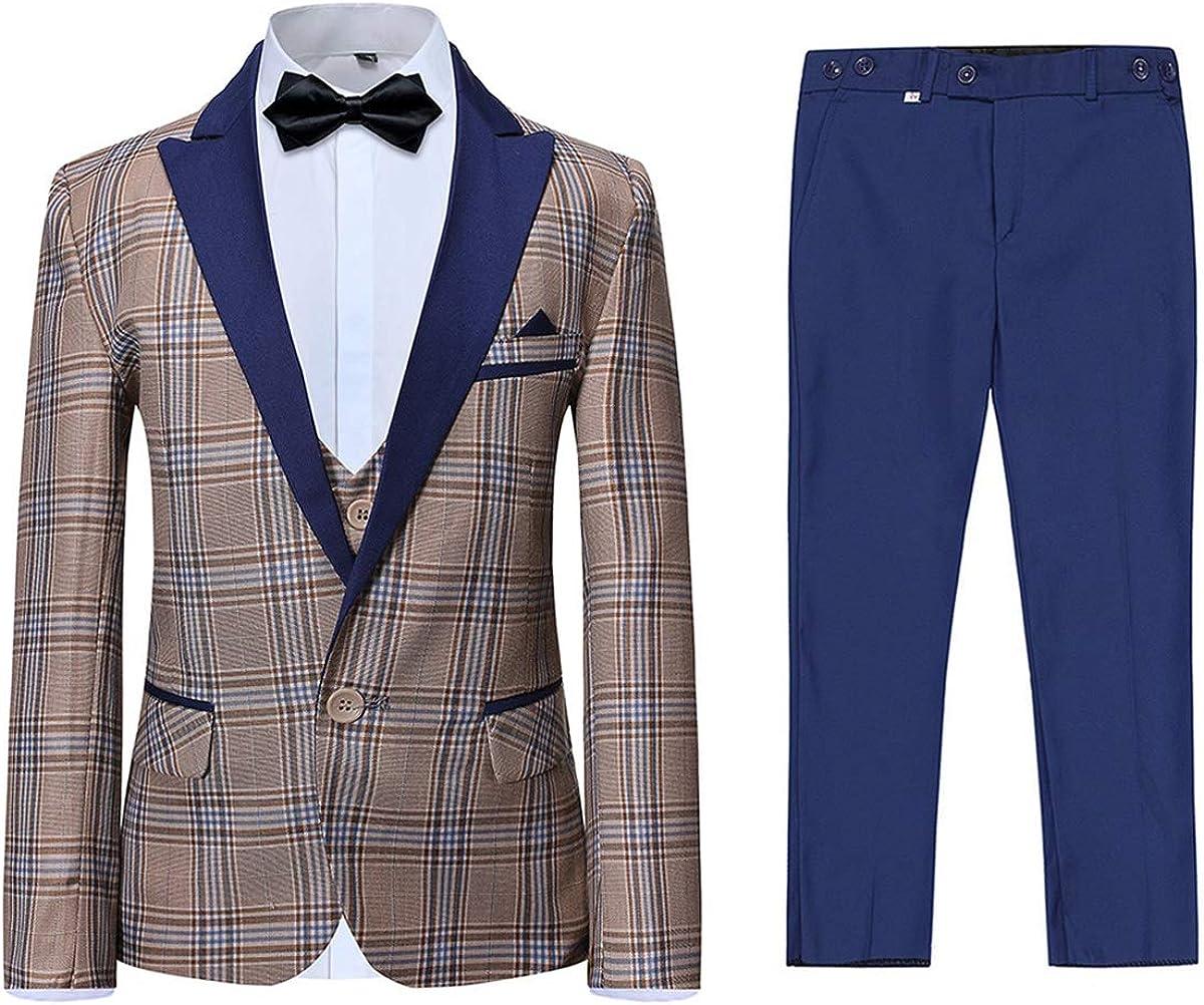 Boyland Boys 3 Pieces Tuxedo Suit Set Plaid Slim Fit Blue Peak Lapel Jacket Tux Vest Blue Pants Party Wedding