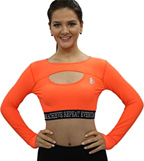Cut Out Full Sleeve Sports Bra Orange Color