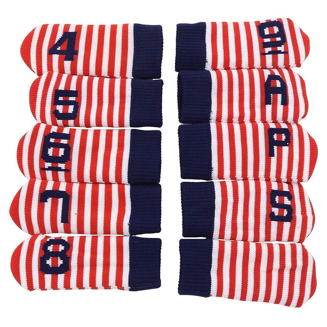 従順スピーチ告発ゴルフヘッドカバー ニットアイアンカバー 可愛いソックス型 靴下型 二重生地 (4~9、P、A、S、無地)両側数字 10個セット 5色