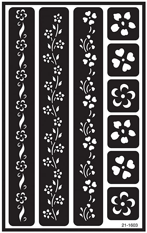 Armour Etch Over N Over Stencil, Floral Borders