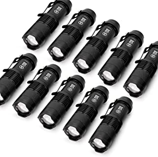 10 Pack Small EDC LED Flashlight 7W 350 lumen Tactical Zoomable Pocket Torch Portable Flashlights Bulk Best Handheld Light for Home, Car, Office & Outdoor Activities