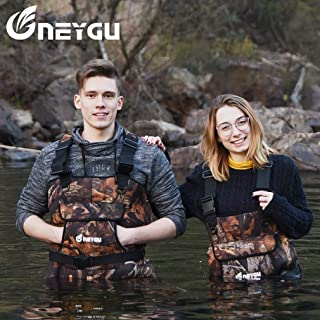NEYGU 5MM Thickened Neoprene Waterproof and Thermal Chest Wader with Rubber Boots,Keep You Warm Under -31℉,Maple Leaf Style