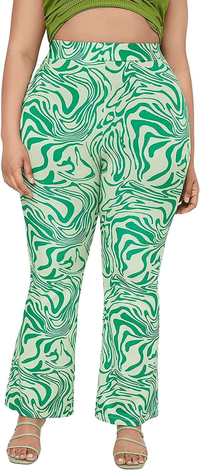 SOLY HUX Women's Plus Size Printed High Waisted Flare Leg Bell Bottom Long Pants