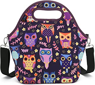 iColor Neoprene Lunch Bag with Cutlery Kit Neoprene Case for Knife,Fork,Spoon,removale Shoulder Strap, Thermal Thick Lunch Tote Bag,Large Size,Reusable Bags for Adults,Kids YLLB-08