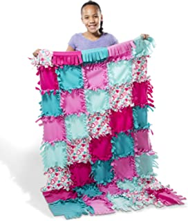 Melissa & Doug Created by Me! Heart Fleece Blanket No-Sew Craft Kit (40 Squares, 3.5 feet x 5 feet)