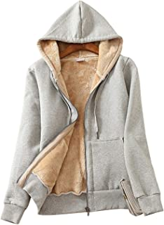 Gihuo Women's Sherpa Fleece Lined Hoodie Zip Up Hooded Sweatshirt Jacket
