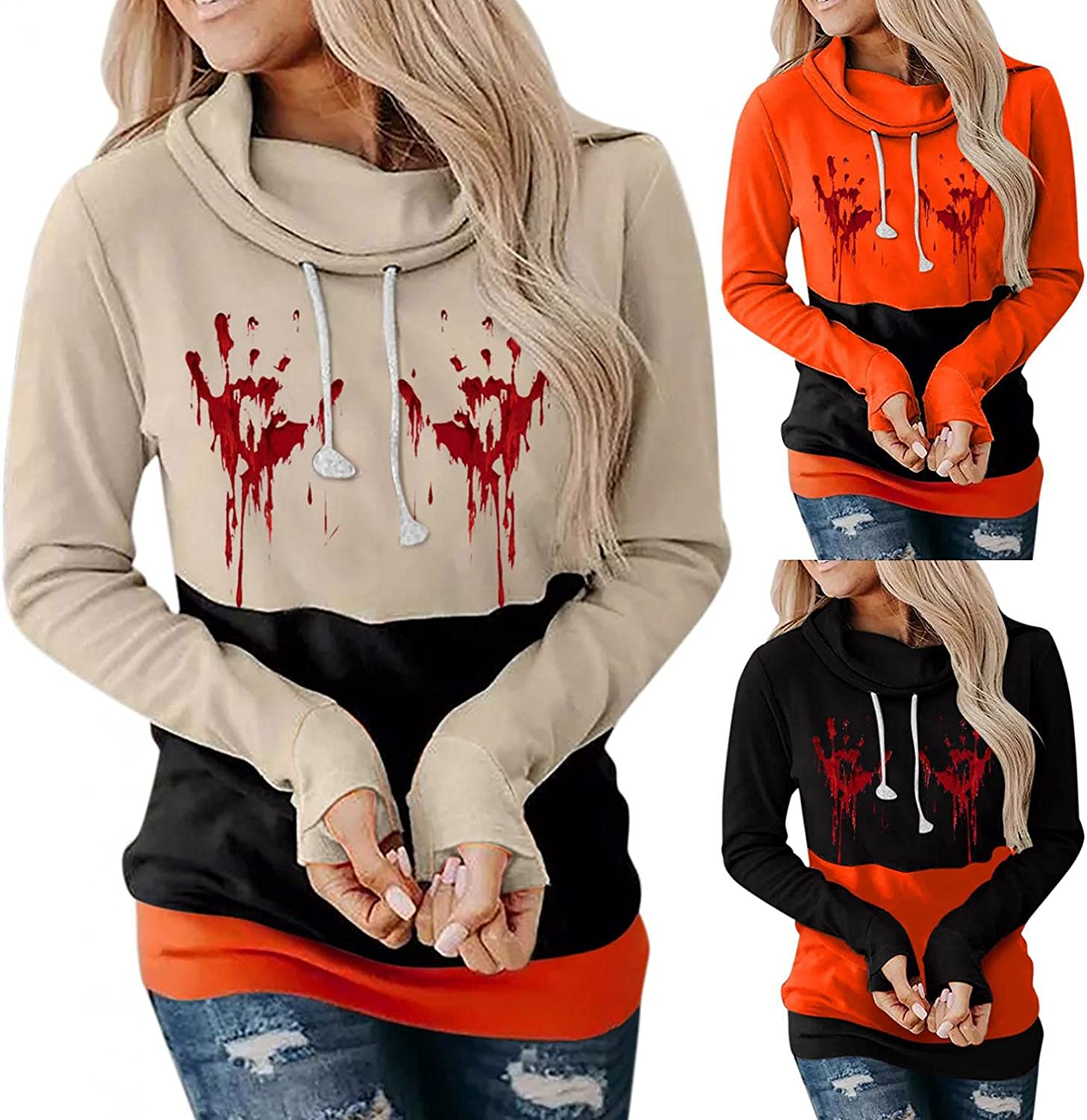 Fudule Halloween Shirts for Women Blood Printed Costumes Casual Lightweight Sweatshirts Color Block Long Sleeve Pullover
