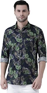 Zeal Men Full Sleeve Floral Printed Casual Cotton Regular Fit Festive Smart Latest Blue and Green Beach Shirt