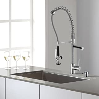 Kraus KHU100-32-KPF1602-KSD30CH 32 inch Undermount Single Bowl Stainless Steel Kitchen Sink with Chrome Kitchen Faucet and Soap Dispenser