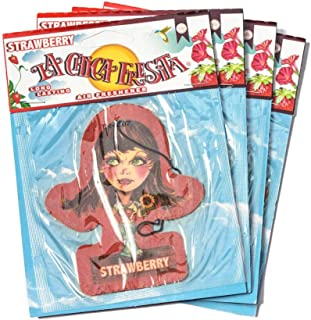 Vspec 4X Original Body Edition La Chica Fresita, Automotive Air Freshener, Strawberry, 4 Piece Mexico