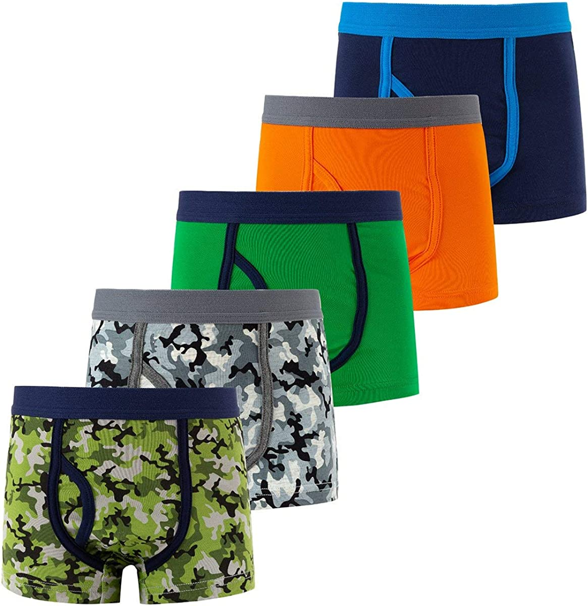 AIWUHE Boys' Cotton Boxer Briefs 5 Pack Shorts Toddler Kids Camouflage Underwear 2-9Y Breathable
