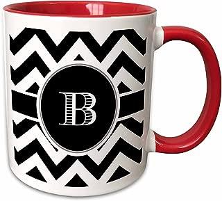 3dRose 222064_5 Chevron Monogram Initial B Mug, 11oz, Black/White/Red