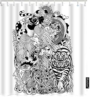 Moslion Shower Curtain Animals 72Wx96H Inch Dragon Phoenix Turtle Tiger Mythological Creatures Tattoo Feng Shui FunnyShowerCurtain for Bathroom Decoration Polyester
