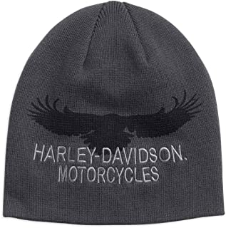 716f64a7 Harley-Davidson Men's Eagle Silhouette Knit Beanie Hat, Dark Gray 97688-18VM