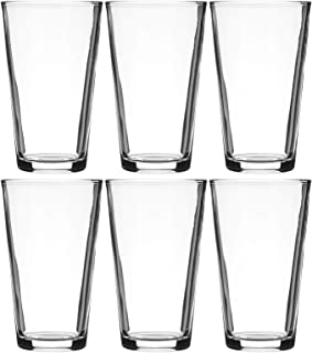 Modvera Drinkware Beer Pint Glass 16 Ounce   Versatile Cocktail Shaker Beer Glass   Perfect for the Pub, Home Bar, or Everyday Use   Ultra Clear Strong Rim Tempered Mixing Beer Glass   Set of 6
