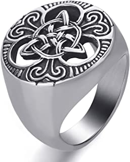 Elfasio Stainless Steel Ring Irish Celtic Knot Magic Symbol Vintage Jewelry
